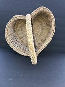Wicker Vintage Shabby Chic Heart Decorative Basket Easter, Valentines, Gift