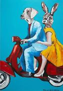 Gillie And Marc Their Second Love Mixed Media On Canvas Painting 122cm X 82cm