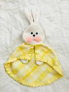 Vintage Fisher Price Yellow White Plaid Bunny Rabbit Lovey Security Blanket 79'