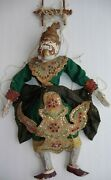 Vintage Two Marionette Puppet Hanuman And Warrior Hand-carved Hand-stitched