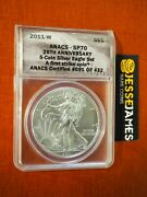 2011 W Burnished Silver Eagle Anacs Sp70 First Strike From 25th Anniversary Set