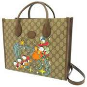 Pre-owned 648134 Gg Supreme Disney Tote Bag Beige Brown Canvas Leather F/s