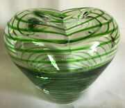 Studio Art Blown Glass Heart Shaped Bud Vase Clear With Green Stripes