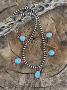 Navajo Sterling Kingman Turquoise Natural Red Coral Necklace Taos Collection
