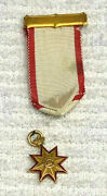Antique Rare Society Of Colonial Governors Ribbon Medal Insignia 14k