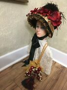 Victorian Christmas Hat Bonnetw/bells/for Carolers From Saratoga Hat Shows