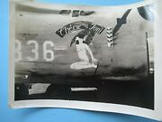 Original Photograph Ww2 Bomber With Nude Nose Art Painting On The Side