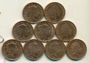 9 Different 1 Penny Coins From Great Britain 2009/10/11/12/13/14/15/16/17