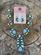 Navajo Sterling Sonoran Gold And Golden Hills Turquoise Necklace And Earring Set