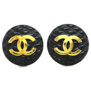 Quilted Cc Button Motif Earrings Black Clip-on 29 Accessories 38020