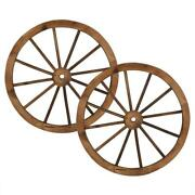Set Of 2 30and039and039 Decorative Vintage Wood Wagon Wheel Wall Decoration Garden Yard