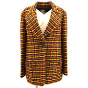 95a 40 Cc Button Single Breasted Long Sleeve Jacket Tweed Brown 38728