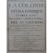 Sacchini Antonio The Colony Opera Singer Orchestra Ca1775 Sheet Music S