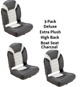 3-pack Deluxe High Back Folding Boat Seats Charcoal Extra Plush Fishing Comfort