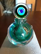 Vintage Sommerso Murano Style Glass Facet Perfume Bottle Blue Green Clear