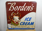 Rare Early Borden's Ice Cream Large 30 X 30 D/s Metal Sign Elsie Graphics