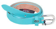 Paul And Shark Yachting Women's Leather Belt Italy 44 90 Cm 35 Turquoise