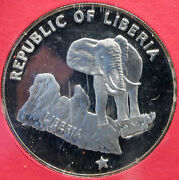 1973 Liberia State Map With Elephant Antique Genuine Proof Silver 5 Coin I88184