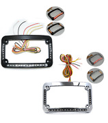 Dual Led Curved Motorcycle License Plate Frame W/ Brake Or Turns Black/chrome
