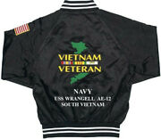 Vietnam Uss Wrangell Ae-12 Navy 1-sided Satin Jacket Back Only Embroidered