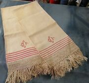 Antique Pr Linen Show Fringed Towels Red Cct Monogram And Stripes Broomstick Lace
