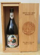 Birra Moretti Large 17.5 Glass Beer Bottle In Lighted Wooden Box Rare Display