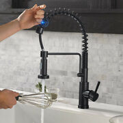Automatic Touch Sensor Spring Kitchen Faucet With Pull Down Sprayer Matte Black