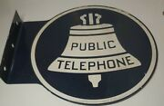 Original Public Telephone Metal Sign Double Sided Flange Round 11 Straight Vtg