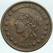 1837 United States Us Hard Times Political Token W Liberty Not One Cent I88232