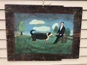 Antique Vermont Folk Art Early 19th Century Oil On Board Naive Painting Dog