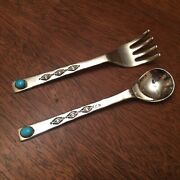 S Sterling Silver Turquoise Youth Fork Spoon Child Baby 2 Pc Set