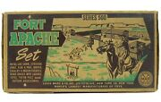 Vintage 1950and039s Marx Fort Apache Cavalry Indian Tin Playset W/bags Insert And Box