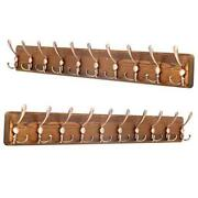 Rustic Wall Mounted Coat Rack Pack 2 Item-10 Hooks Brown Plate And Antique Hook