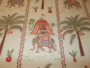 New P Kaufmann Caravan Fabric 4 1/2 Yds Elephants Palm Trees Tents