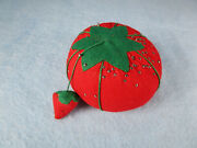 Vintage Sewing Tomato Pin Cushion With Strawberry Emery Cushion