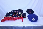 Vintage Collectible Camp Fire Girls Vest W/beads, Tie W/bolo, 2 Hats, 1971 Cert