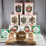 Vintage Lot Of 9 Campbell Kids Soup Christmas Ornaments 1980-1988 Iob With Coa