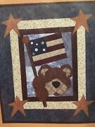 Rustic Patriotic Bear Quilt Pattern Wall Hanging Table Topper Primitive Pattern