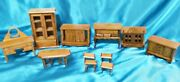Vintage 11 Pieces - Wooden Miniature Doll House Furniture