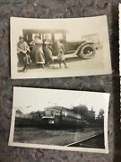 Lot Of Antique And Vintage Snapshot Photos-cars-trains-trollies