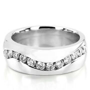 0.90 Ct Genuine Diamond Engagement Mens Ring 14k Real White Gold Band Size 10 11