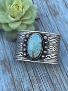 Navajo Handmade Sterling And Number 8 Turquoise Signed Cuff Signed Danny Clark