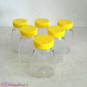 6 Plastic Craft Storage Bottles Screw-on Lids Use For Small Parts Craft Items