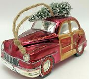 Pottery Barn Woody Car Glass Christmas Ornament Woodie