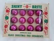 Vintage Christmas Tree Ornaments Hot Pink Miniature Collectible Shiny Brite