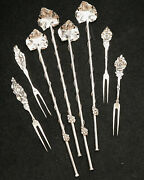 4 Sterling Iced Tea /coffee Straws With Scoops/spoons And 4 Hors D'oeuvre Forks