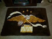 Vintage Americana Eagle And Drum Hooked Rug 53 X 36 Excellent Condition