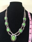 Native American Jewelry Gaspeite Concho Necklace Sterling Silver Stamped/signed