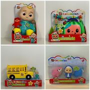 Cocomelon Bundle - Jj Doll Musical Check Up Musical School Bus And Bath Squirters