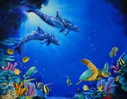 James Corwin The Cove Dolphins Sea Turtle Fish 11x14 Oil Painting On Canvas